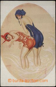 60289 - 1910? Girls in/at swimsuit (La Merkur-Revue Fleurie), color