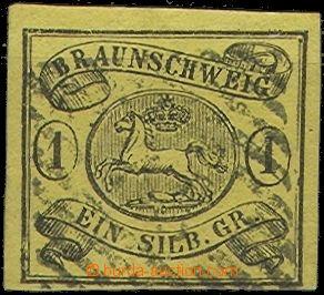 60431 - 1853 Mi.6, dole užší střih, čárkové razítko, dobře