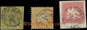 60432 - 1851-65 comp. 3 pcs of stamps (1x on cut-square), Mi.2 + 22