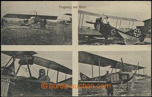 60436 - 1917 letadla na startu, čb 4-okénková pohlednice, německá bo