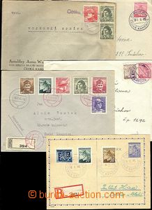 60457 - 1945 comp. 5 pcs of entires, all with provisory cancel. Čes