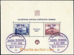 60536 - 1938 REICHENBERG  Mi.Bl.1 Bratislavský aršík s přetiskem