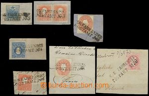 61043 - 1858-67 comp. 7 pcs of cut-squares with stamps, straight lin