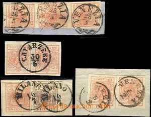 61046 - 1850 issue I, comp. 4 pcs of cut-squares, 1x pair, 1x str-of