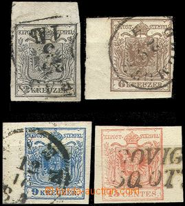 61047 - 1850 issue I, comp. 4 pcs of stamps, all marginal pieces, va