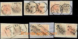 61056 - 1850 I.emise, sestava 6ks výstřižků, smíšené frankatury 3+6k