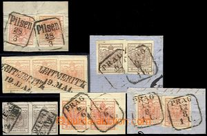 61062 - 1850 issue I, comp. 6 pcs of cut-squares with multiple frank