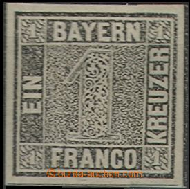 61123 - 1849 Mi.1 Ia, One Kreuzer Black, plate I, black-grey color,