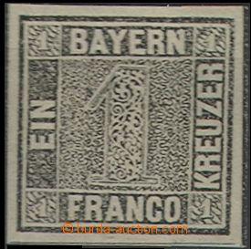 61123 - 1849 Mi.1 Ia, Bavorská jednička, TD I, černošedá barva,