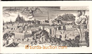 61180 - 1964 BOUDA Cyril,  panorama town Brno, copperplate, author's