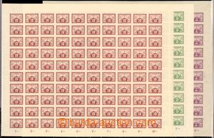 61301 - 1919 Pof.S1-3, complete set of, complete 100-stamps sheets,