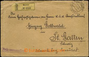 61614 - 1910 Reg letter to Switzerland, on reverse with BH  Mi.41, i