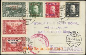 61664 - 1916 postcard with mixed franking Austria-Hungary FP (Mi.26)