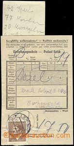 61671 - 1943 KT BUCHENWALD  podací lístek na balík, vyfr. zn. 1K,