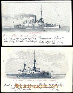 61701 - 1899 sestava 2ks čb pohlednic s rakouskými loděmi S.M.Sch