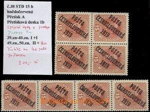 61809 -  Pof.38 Karel s přetiskem, 4-blok + 4-páska, spojené typy