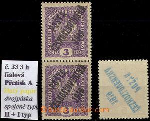 61810 -  Pof.33 Znak s přetiskem, svislá 2-páska, ST II+I., žlut