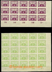 61813 - 1919 Pof.S1, S2, blk-of-15 S1, LR corner with plate mark (tw