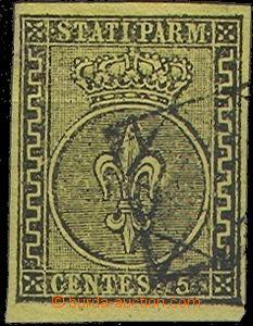 61845 - 1852 Mi.1a Znak, žlutý papír, dobrý střih, část ráme