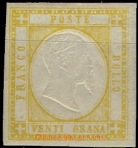 61855 - 1861 Mi.7 Victor Emmanuel II., wide margins, unoriginal gum