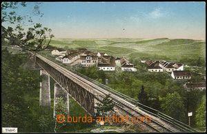 61875 - 1915 Třebíč, železniční most a v pozadí s Herzánovem, barevn