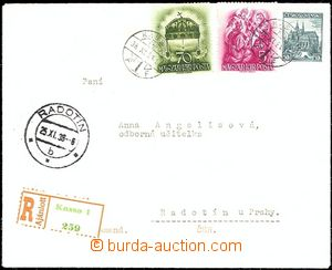 61877 - 1938 Reg letter from annexed Košice to Bohemia, mixed Hunga