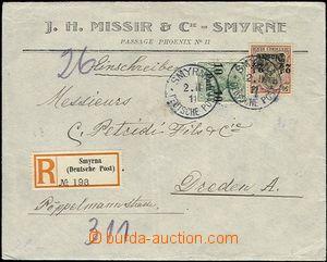 61881 - 1911 R dopis z Turecka do Drážďan, vyfr. přetiskovými z