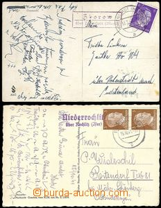 61889 - 1941-42 2x postcard with postal agency pmk Zborow über Hohe
