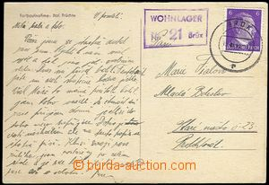 61890 - 1941 postcard to BOHEMIA-MORAVIA with postal agency pmk WOHN