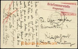 61915 - 1919 postcard to Austria, with Hradčany 10h, broken out can