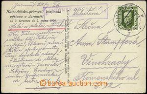 61918 - 1926 pohlednice zaslaná z výstaviště v Jaroměři, razí