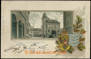 61924 - 1902 Aš (Asch) - litografická koláž, radnice, erb, tlač