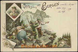 61926 - 1905 Gruss aus Bergen, litografická koláž, unavený turis