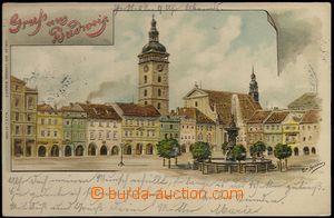 61934 - 1902 České Budějovice - litografie, náměstí; DA, prošlá, leh