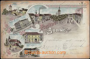 61939 - 1898 Budyně n./O. - lithography; long address, Us, oxidatio