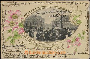 61940 - 1903 Most (Brüx) - obrázková koláž, postavy na náměstí, zlac