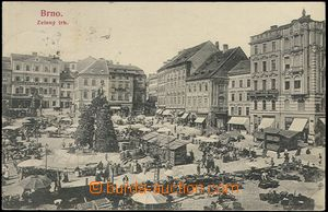 61942 - 1900 Brno - Vegetable square, stalls, people, buildings, int