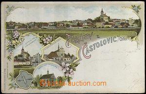 61943 - 1898 Častolovice - litografická koláž, pivovar, kaple, koste