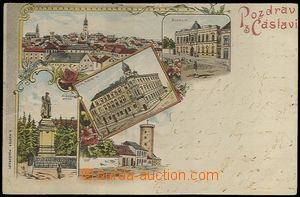 61944 - 1899 Čáslav - lithography, hotel, museum; long address, Us,