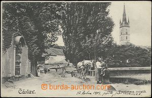 61945 - 1904 Čáslav - figures and horse-drawn vehicle by/on/at bridg