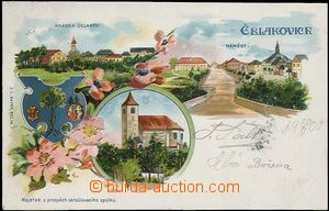 61946 - 1902 Čelákovice - lithography; long address, Us, very good c