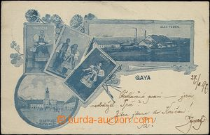 61960 - 1897 Kyjov (Gaya) - 5-view collage, glassworks, blue shade;