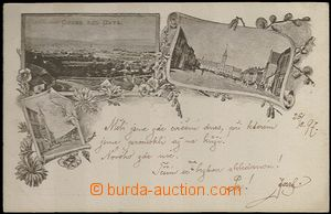 61961 - 1897 Kyjov (Gaya) - 3-views collage, brown shade; long addre