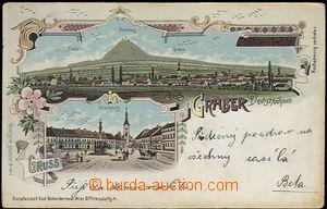 61962 - 1908 Kravaře (Graber) - litografická koláž; DA, prošlá, odře