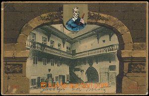 61976 - 1902 Cheb (Eger) - obrazová koláž podloubí, Valdštejnsk