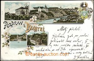 61991 - 1898 Bechyně, color collage lithography, 4-view with  by co