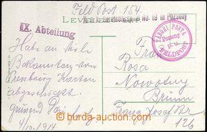 62002 - 1914 pohlednice zaslaná FP s řádkovým razítkem K.u.K. G