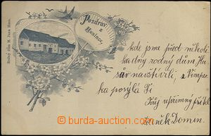 62019 - 1898 Husinec - collage, house John Huss, yellowish paper; lo