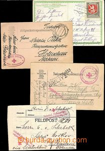 62020 - 1914-17 4x entire with postmarks hospitals and Red Cross, 1x