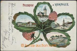 62023 - 1903 Humpolec - koláž čtyřlístek, nádraží; DA, prošlá, odřen